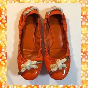 Tory Burch Size 7.5 Orange Tassel Ballet Flats